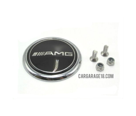 62mm Black AMG Chrome Trunk Boot Emblem Decal Badge For Mercedes Benz