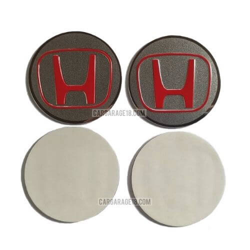 Red-Silver-Wheel-Center-Cap-Size-5,5cm-For-Honda