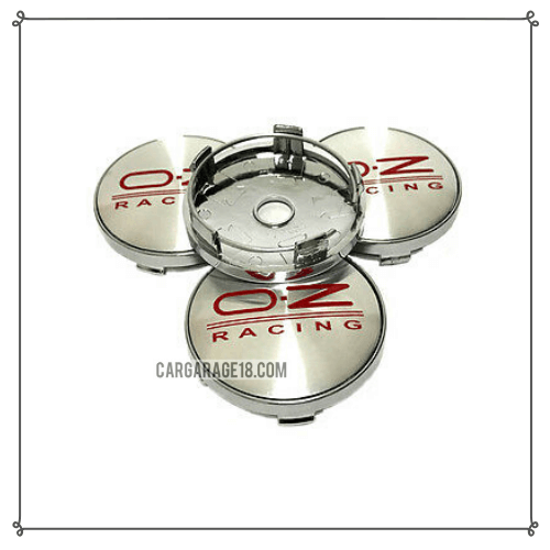 SILVER AND RED OZ RACING WHEEL CENTER CAP SIZE 60mm