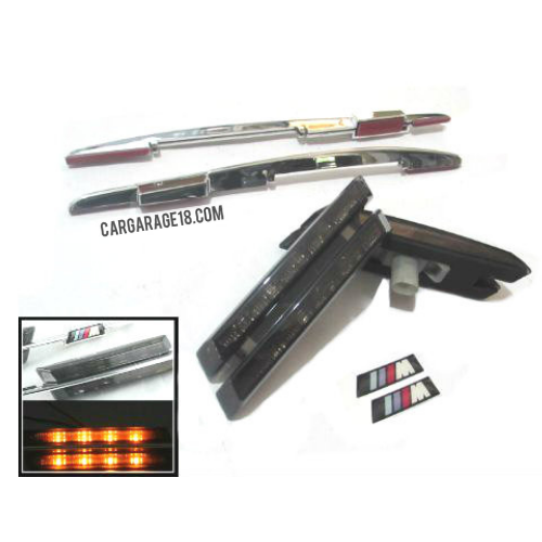 LED SIDE MARKER SMOKED WITH M BADGE FOR BMW E81, E82, E87, E88, E90, E91, E92, E60, E61