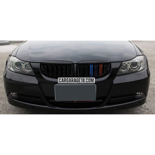 GRILL M COLOR GLOSSY BLACK, DOUBLE SLATS FOR BMW E90 PRE LCI (05-08) PAIR