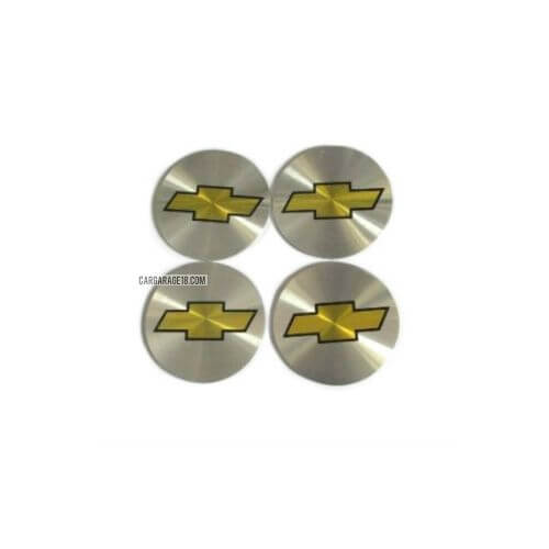 SIZE 55mm SILVER YELLOW WHEEL CENTER EMBLEM FOR CHEVROLET