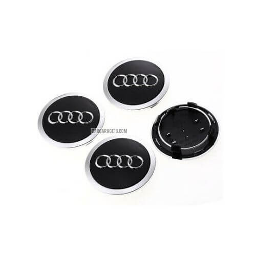 SIZE 69mm GLOSSY BLACK WITH LIST CHROME WHEEL CENTER CAP FOR AUDI