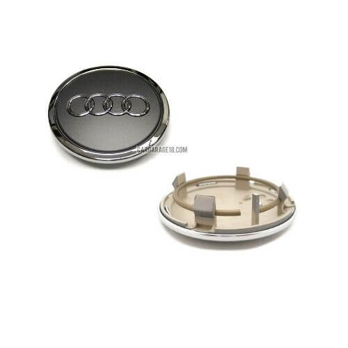 SIZE 69mm GREY WITH LIST CHROME WHEEL CENTER CAP FOR AUDI