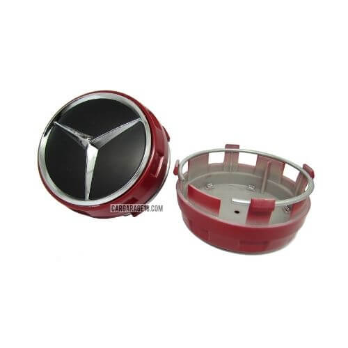 BLACK CHROME RED WHEEL CENTER CAP FOR BENZ SIZE 75mm (CUP MODEL)