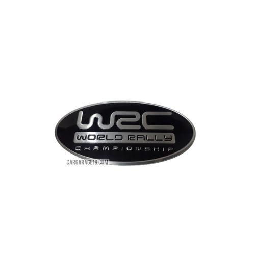 SIZE 85x44mm OVAL BLACK SILVER WRC EMBLEM