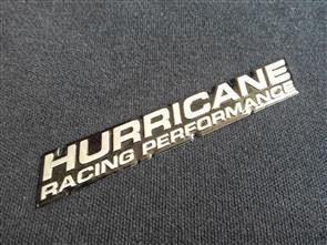"SIZE 110x17mm BLACK CHROME ""HURRICANE RACING PERFORMANCE"" EMBLEM"