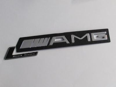 SIZE 210x28mm CHROME AMG BLACK SERIES LETTER EMBLEM FOR MERCEDES BENZ