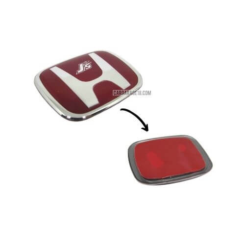 SIZE 55x44mm RED J'S RACING STEERING WHEEL EMBLEM FOR HONDA (TYPE A)