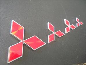 SIZE 105x90mm RED MITSUBISHI LOGO EMBLEM
