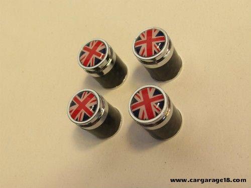RED CARBON UK FLAG TIRE VALVE CAP FOR MINI COOPER (2001-2013)