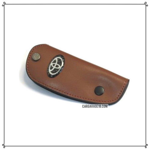 TOYOTA KEY CASE DARK BROWN LEATHER MATERIALS SIZE 10.5x4.2cm