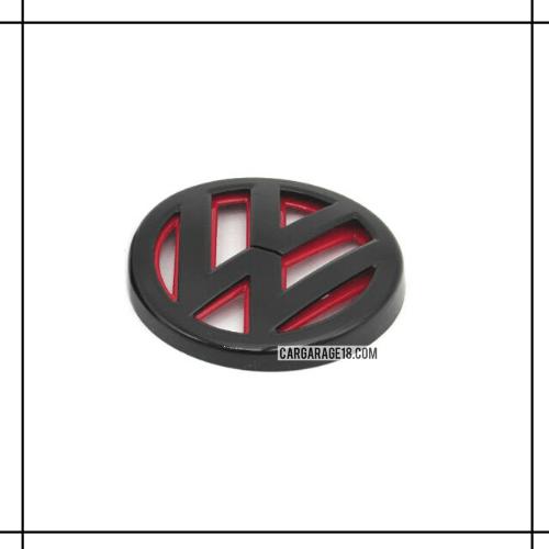 SIZE 11.2cm GLOSSY BLACK RED VOLKSWAGEN LOGO EMBLEM