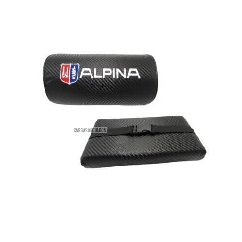 BLACK CARBON ALPINA LOGO HEAD PILLOW FOR BMW