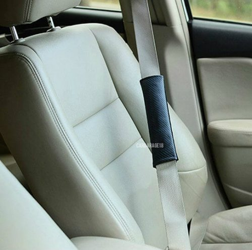BLACK CARBON ALPINA LOGO SEAT BELT COVER FOR BMW