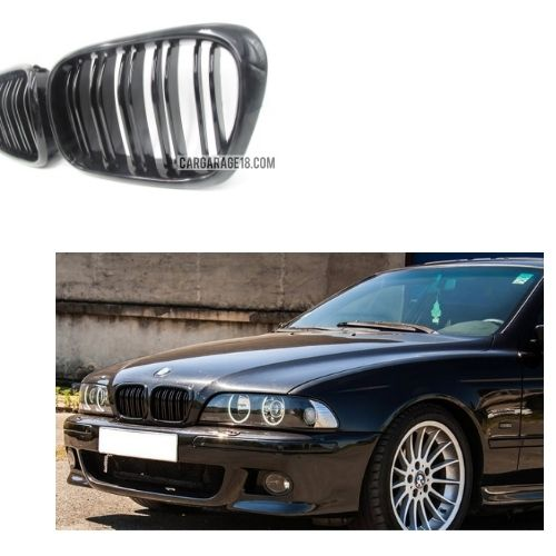 FRONT GRILLE GLOSSY BLACK DOUBLE SLATS FOR BMW E39