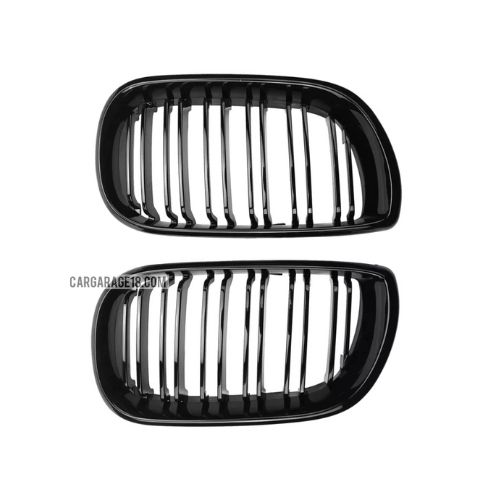 GLOSSY BLACK DOUBLE SLATS FRONT GRILLE FOR BMW E46 FACELIFT 2002-2005