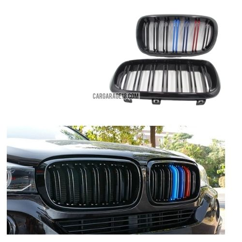 FRONT GRILLE M COLOR GLOSSY BLACK DOUBLE SLATS FOR BWM X5 F15 X6 F16